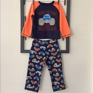 """Toddler fleece pajamas """"Too Tough for Bedtime"""" 4T"""